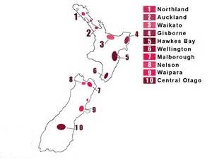 Regions viticoles NZ